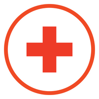 Red Cross Symbol in a circle